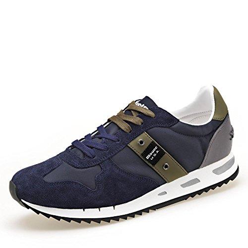 Blue-blue Usa Mannen 8smemphis05 / Nyl Sneakers En De Sneaker Van Suède En Nylon, Grootte: 46, Donkerblauw
