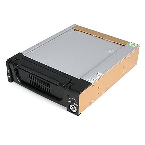 StarTech.com Black Aluminum 5.25in Rugged SATA Hard Drive Mobile Rack (File Cassetto Sistema)
