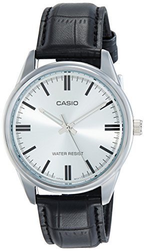 Casio MTP V005L 7A Black Leather SilverDial