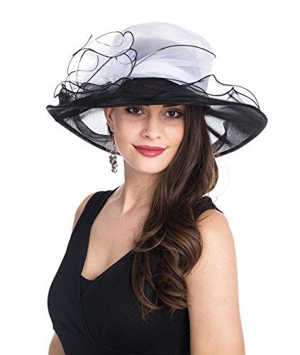 SAFERIN Women's Organza Church Kentucky Derby Hat Feather Veil Fascinator Bridal Tea Party Wedding Hat (SZ-White Balck Flower)