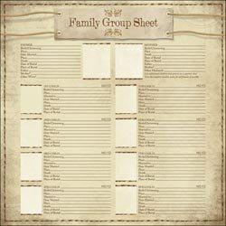 Family Group Sheet (Bulk Buy: Karen Foster Design (25-Pack) Ancestry Paper 12in. x 12in. My Family Group Sheet KFA-PP-64819)