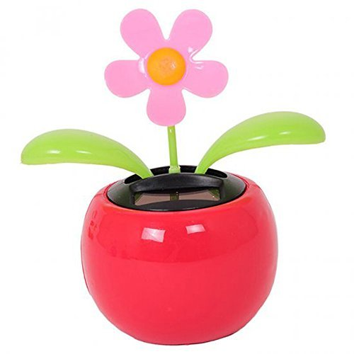 Enshey 1 pcs Solar Powered Dancing Flower Sunflower Car Decor Solar Powered Happy Dancing Sunflower Car Dashboard Office Desk Home Decor The Pot Office Desk Display