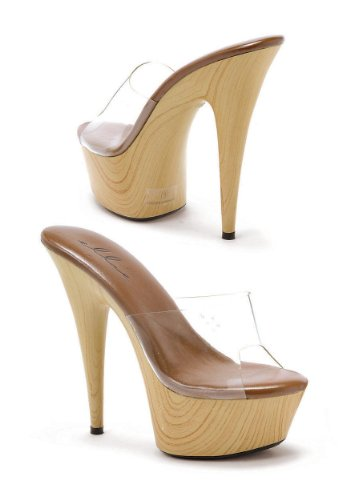 ch Wood Stiletto Platform Slip On Mule Heel (Clear;7) (Heel Clear Mule)