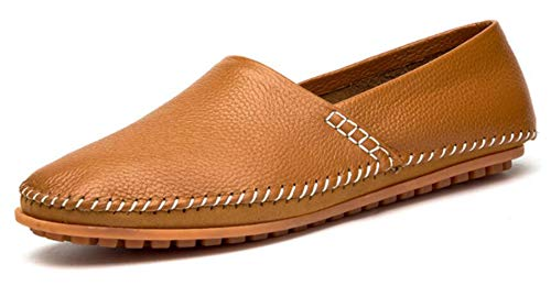 Go Tour Men's Classy Slip-on Casual Mocassin Leather Loafers The Go Driving Boat Shoes Brown 46