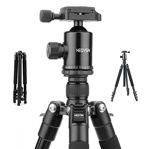 Heoysn Camera Tripod, 61.8 Inch Portable Travel Tripod Aluminum Lightweight, 360 Degree Ball Head, Quick Release Plate and Carrying Bag for DSLR Camera DV Lumix Canon Nikon Sony