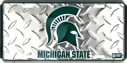 (6x12) Michigan State Spartans Diamond Cut NCAA Tin License Plate ()