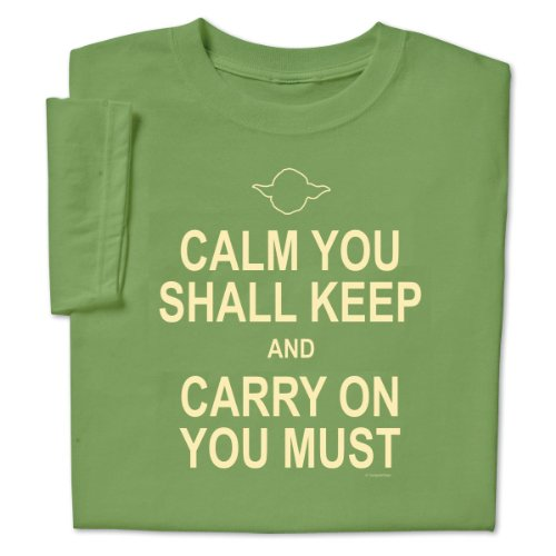 ComputerGear Funny Sayings T Shirt Keep Calm Yoda Geek Nerd Unisex Tee, XL