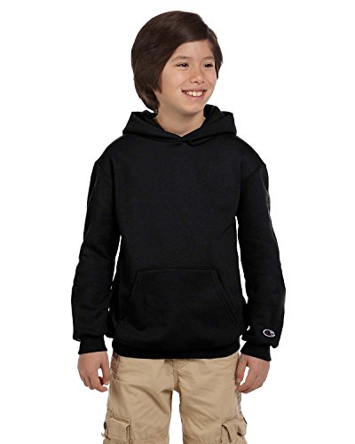 Champion Boys Big Powerblend Eco Fleece Pullover Hoodie, Bla