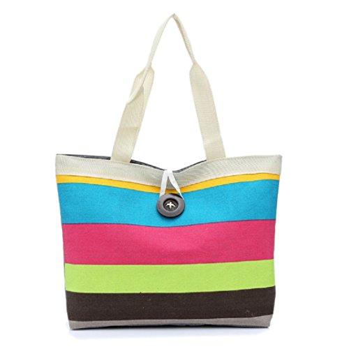 Culater Shopping Tasche, Farbige Streifen Schulter Leinwand Tasche(Hot pink)