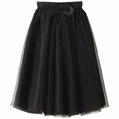 YSJERA Lady's Organza Princess Skirt Bowknot Pleated Midi/Knee Length Tutu Skirts (0X, Black)