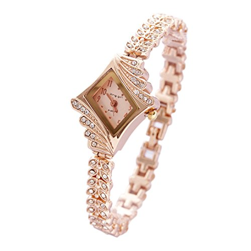 Wensltd Clearance Sale! Luxury Womens Rhinestone Crystal Rose Gold Wrist Watch