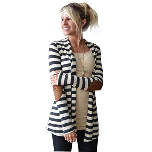 UONQD 2019d Women Coat Long Sleeve Oversized Striped Cardigans Patchwork Outwear (Medium,White)