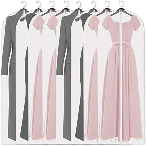 Adalite Garment Bag 54 inch Suit Bag for Storage(Set of 8) Washable Clear Lightweight Garment Bags for Long Dress Dance Costumes Suits Gowns Coats