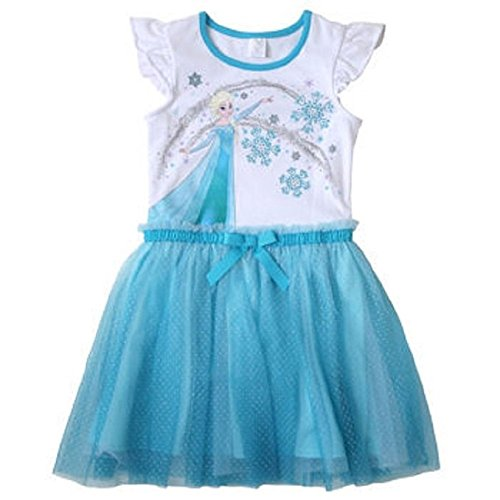 Disney Girls' Frozen Flutter Sleeve Dress White/Blue-3T