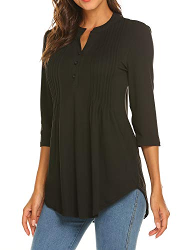 Womens Loose Notch Neck Shirt Black 3/4 Sleeve Tops Pleated Tunic (Floral Henley Tunic Top)