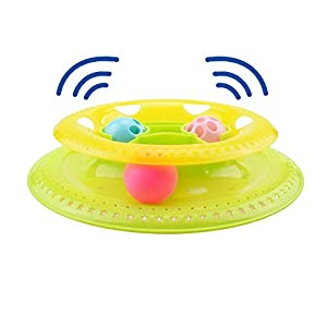 Gounia Interactive Track Ball Kitty Toy Cat Feeder Toy Tower of Track Suitable for Multiple Cats Play Exercise Lightweight Kitty Roller Ball