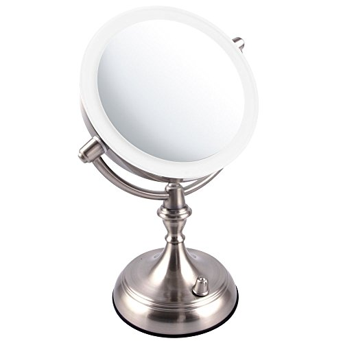 Ovente LED Lighted Tabletop Makeup Mirror, 1x/10x Magnification, 7.5 Inch, Nickel Brushed (MGT75BR)