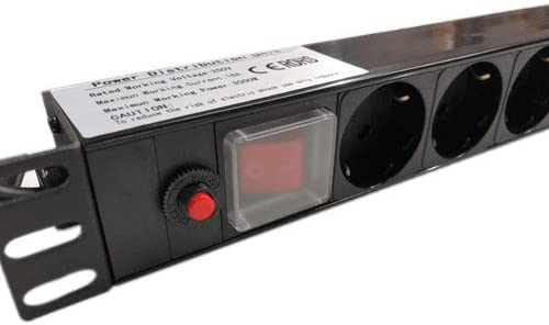 Cablepelado Regleta de enchufes Rack 19 de 8 schuko con Interruptor 2 Metros Negro