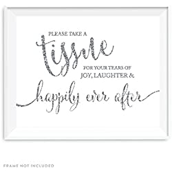 Andaz Press Wedding Party Signs, Silver Glittering, 8.5x11-inch, Please Take A Tissue for Your Tears of Joy, Laughter and Happily Ever After, 1-Pack, Not Real Glitter