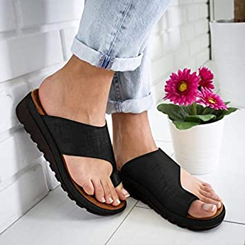 Women/'s Comfy Platform Sandal Ladies Shoes Bunion Corrector PU LEATHER Hot 2019