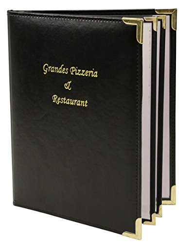 Menu covers, Padded Faux Leather 6 View - 8.5 X 14, Black
