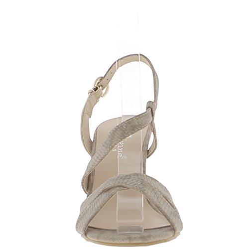 Sandali Color Tortora Bene Tacco 9, Aspetto Argenteo 5cm Belle flange