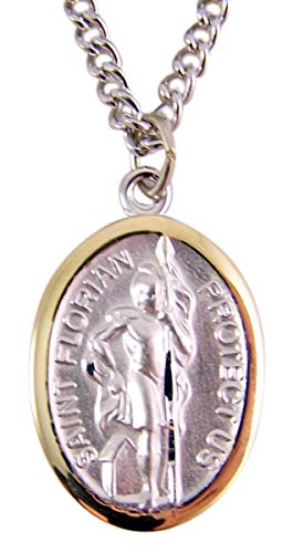 Two-Toned Sterling Silver Saint Florian Firefighter's Protection Medal, 7/8 Inch (Saint Gold Florian Medal)