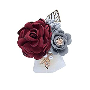 S_SSOY Boutonniere Groom Bridegroom Men's Silk Lapel Brooch Boutonniere Groomsmen Best Man Boutineer Corsage with Gold Leaf Flower for Wedding Prom Homecoming Party (Burgundy, Pack of 1) 63