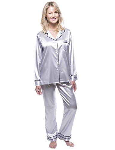 Noble Mount Classico Conjunto Pijama de Satén para Mujer Gris