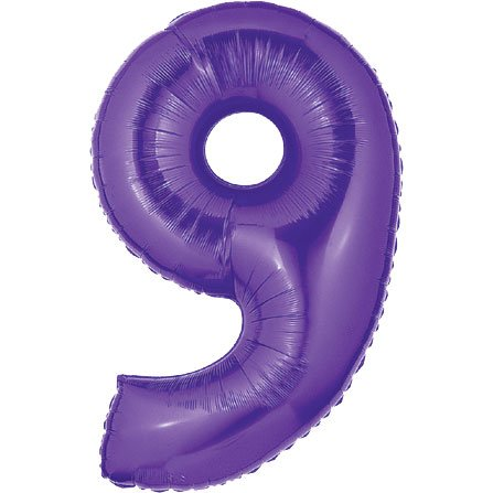 1 X 40 Large Number Balloon 9 Purple by Betallic -