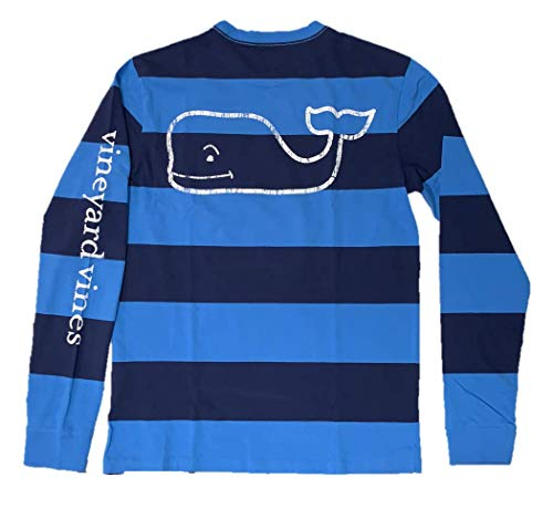 Blue Shirt Stripe Ls - Vineyard Vines Mens LS Vintage Whale Pocket TEE (Small, Rugby Blue Stripe)