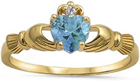 Yellow Gold Plated Irish Claddagh Aquamarine Cubic Zirconia Heart .925 Sterling Silver Ring Sizes 3-11