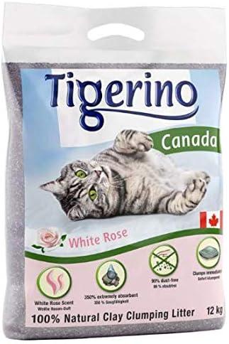 Tigerino - Arena para gatos de Canadá muy absorbente, aroma a rosa blanca 24 kg
