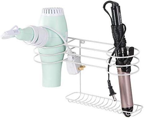 mDesign Soporte para secador de pelo para fijar en la pared – Estante de baño ideal para guardar secador y plancha de pelo – Organizador de pared en metal con varios soportes –