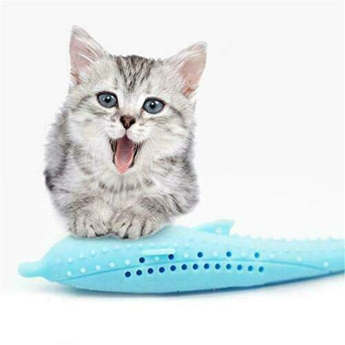 Belegend Cat Toothbrush Fish Shape Teeth Cleaning Toy with Catnip Pet Toys,Pet Eco-Friendly Silicone Molar Stick (Blue) ()