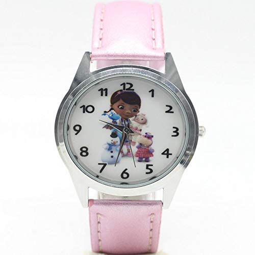 Lamb Toy 2019 Watch Doc Mcstuffins Style Print Leather Band Analog Casual Quartz Wristwatch - Leather Twist Loops Parts Strap Accessories Extra Removal Watch Stitches Pins