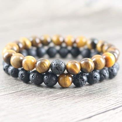 (Men's Beaded Bracelet Sets Tiger Eye & Rock Lava Stone for Men Matching Bracelets Couples Lery Boyfriend Gifts)