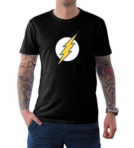 The Flash Superhero T Shirt (XL, Black - Flash Logo)