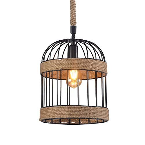 Wideskall 1-Bulb Industrial Birdcage Lantern Mini Pendant Lighting Fixture, 10-inch Metal Cage, Natural Hemp Rope Finish