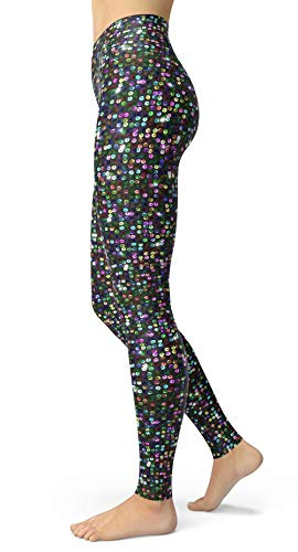 sissycos Women's Galaxy Star Printed Leggings High Waist Brushed Buttery Space Pants (Plus Size(L-2XL/Size 12-24), Multicolor Sequin)