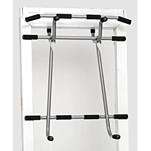 Shamrock Triple Door Gym Ultimate 3 In 1 Pullup Doorway Bar – Total Body Home Workout Bar For Chin Ups, Dips & Suspension Exercises, Heavy Duty Steel Construction, Screwless Installation On All Doors