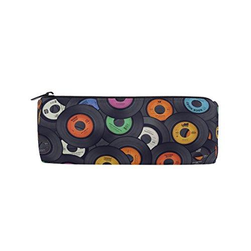 Round Pencil Case Bag Vinyl Records Music Print Multi FunctionSchool Supplies Organizer Pouch Bag with Zipper Closure