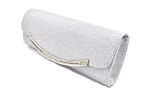 Mesh Metallic Evening Bag (Wedding Evening Bags Rhinestones Clutches Shining Cross Body Handbags Purse - Nodykka)