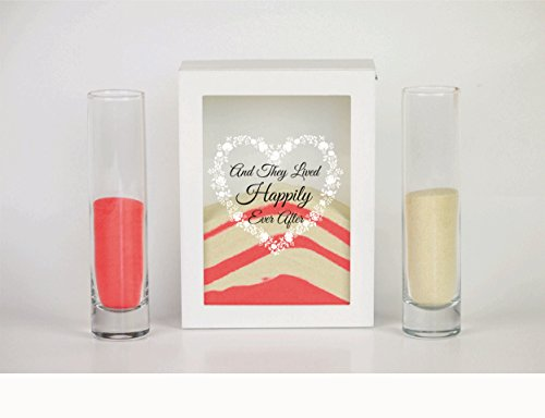 Sand Ceremony Set, And They Lived Happily Ever After, Shadow Box Wedding, Vow Renewal, Unity Sand Ceremony Set, Beach Wedding Decor, Unity Candle Set, Destination Wedding (Wedding Vows Unity Candle)