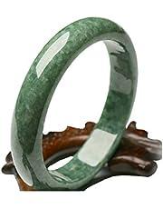 Jollymap Natural Handmade Green Chinese Hetian Jade Bangle Bracelet-(60-62mm)