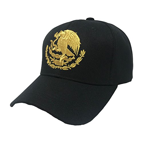 GREAT CAP Mexico Constructed Baseball Cap by Classic Mexico Flag Color Design Adjustable Hat Daily Fashionable Futbol Cap - Gold Mexican Eagle -