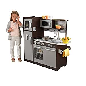 Kidkraft uptown espresso kitchen toys games for Kitchen set toys amazon
