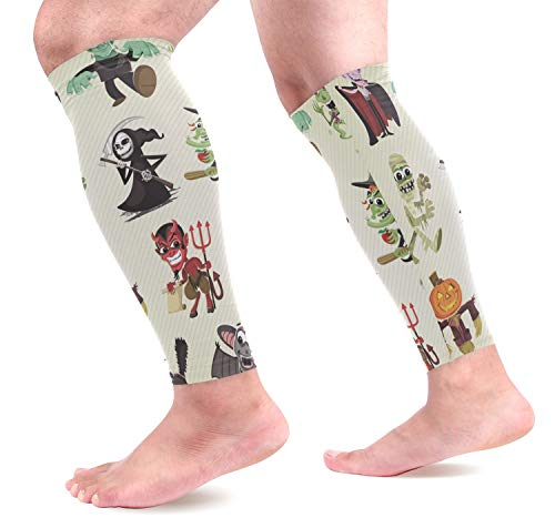 (KEAKIA Hallowen Characters Calf Compression Sleeves Shin Splint Support Leg Protectors Calf Pain Relief for Running, Cycling, Travel, Sports for Men Women (1)