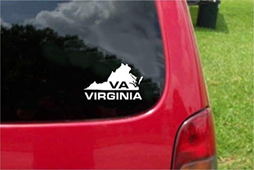 Set 2 (PCS) Virginia VA State USA Outline Map Stickers Decals (6