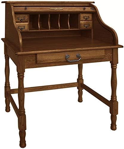 Mini Roll Top Desk Solid Oak Wood 32x 24x 44 Small Writing or Laptop Desk Burnished Walnut Finish Small Desk